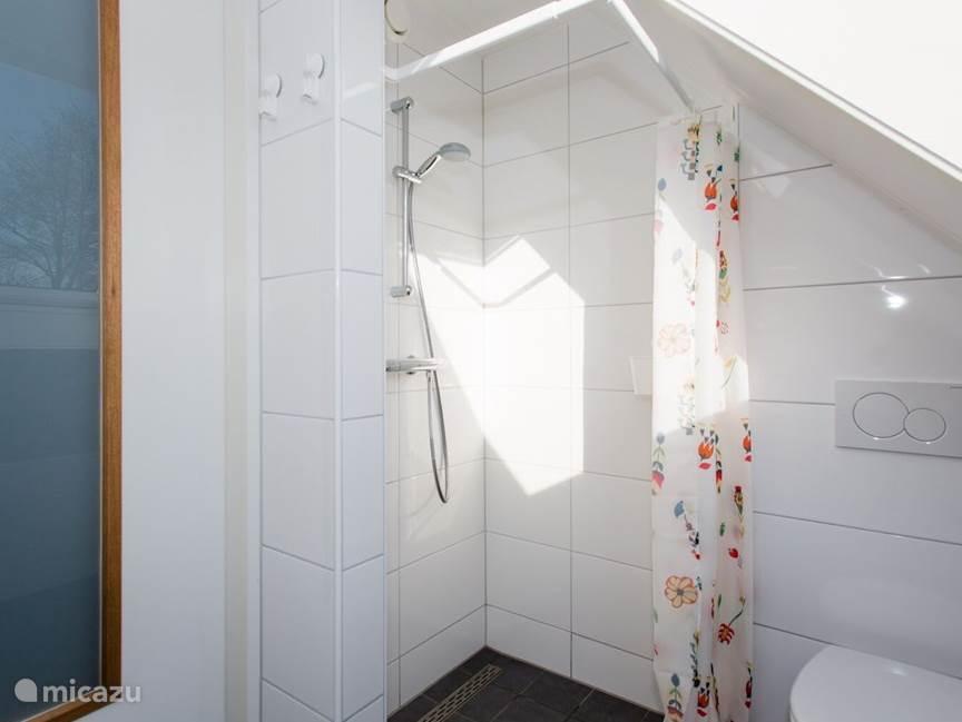 Badkamer eerste verdieping met douche, toilet en wastafel.