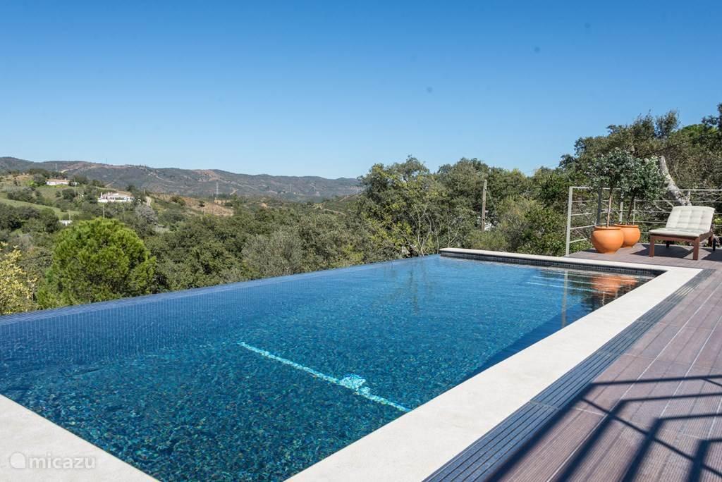 Vanuit het invinity zwembad kijk je over de heuvels