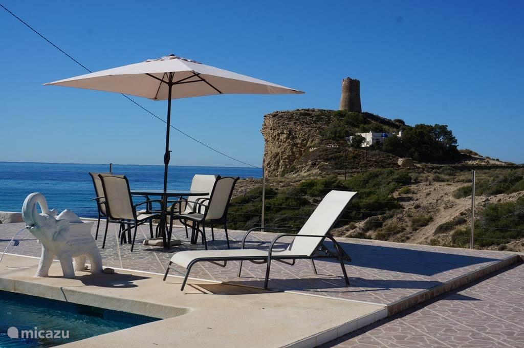 Vakantiehuis Spanje, Costa Blanca, Villajoyosa (Benidorm) villa Luxe villa eerste lijn zee en strand