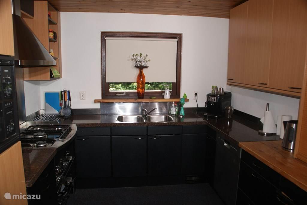 Dubbele spoelbak en een espresso machine , vaatwasser , ijskast  vriezer en combi oven.
