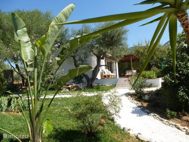 De exotische tuin waarin de casita ligt.