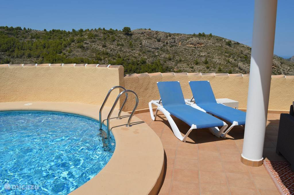 terrace, private pool and sunbeds
