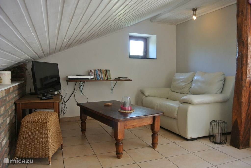 Wohnzimmer mit Sofa + Sessel + TV + DVD-Player