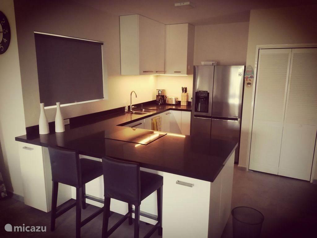 Offene Küche mit Geschirrspüler, Mikrowelle und Induktionskochfeld