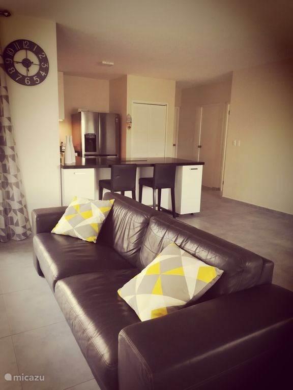 Offene Küche mit Bar. Drei-Sitzer-Sofa