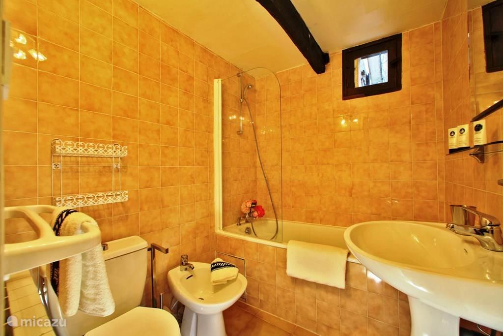 Badkamer met bad, wastafel en toilet