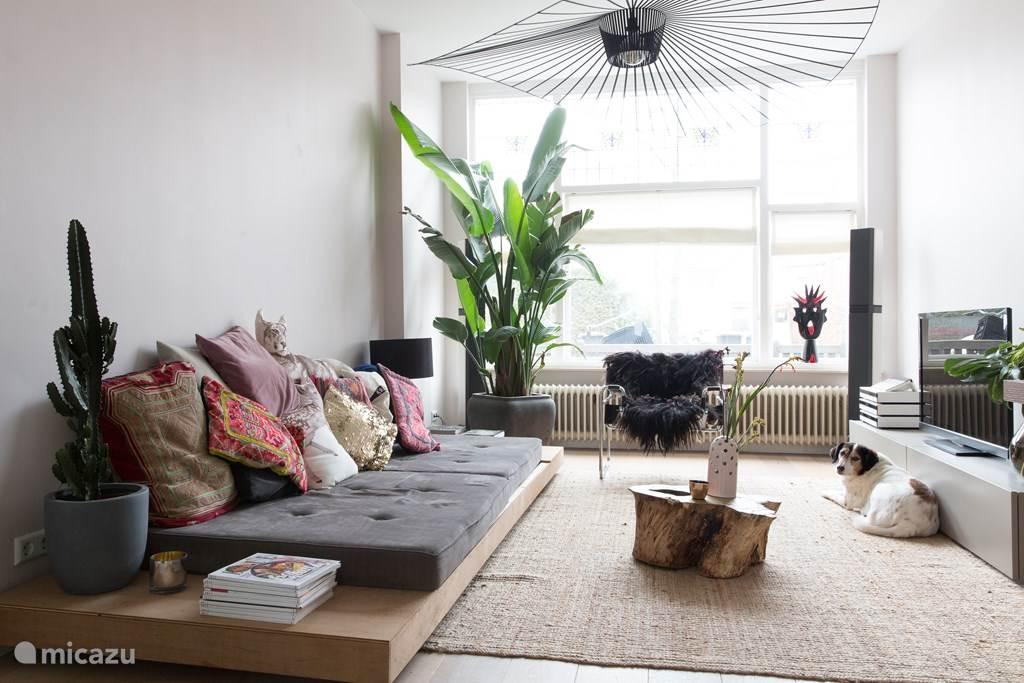woonkamer met lounge bank/bed van 120 x 250 cm
