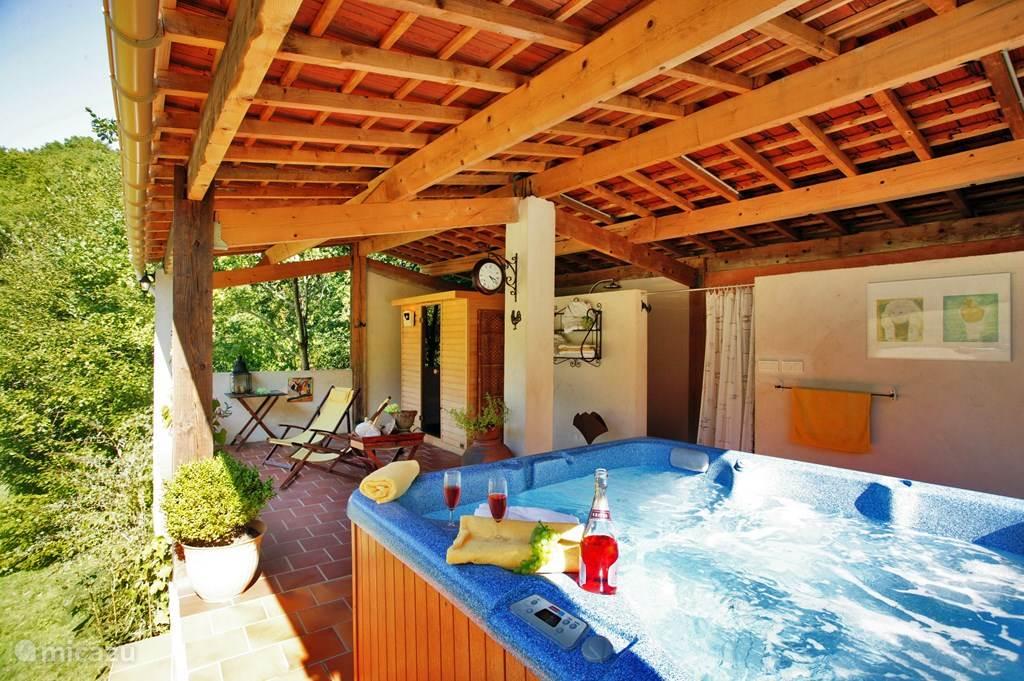 Naast het zwembad is de sauna en jacuzz. Deze kunt u prive huren en is tegen betaling van een toeslag.