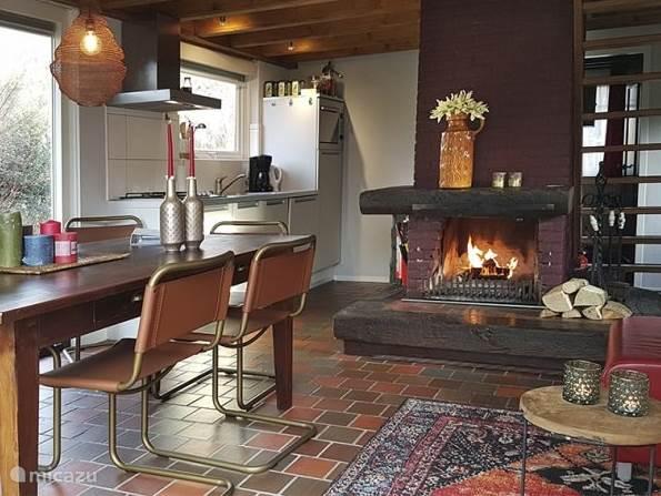 Woonkamer met open haard en open keuken (vaatwasser/hete lucht oven etc.)