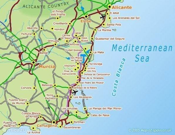 Map Of Spain La Manga.Blancosol Apartment In La Mata In Torrevieja Costa Blanca Spain