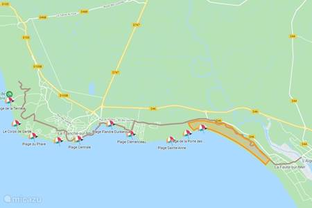 Kaart met stranden in La Tranche sur Mer
