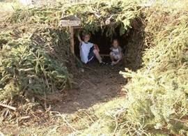 ideal place for children can enjoy here a hut built of branches