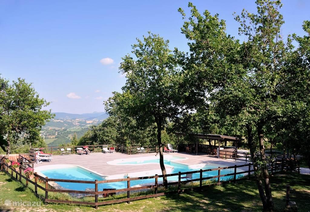Het zwembad van Casa Tartufo.