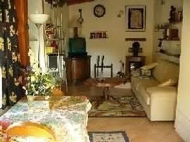 huiskamer studio met ned tv, kleine haardkachel voor de wintermaanden, cv aanwezig, luchtverfrissing met een planfont vin. Optimale slaapbank, in het geheel een knus vankantiehuisje.