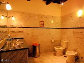 De ruime, lux uitgevoerde badkamer met carara marmer op de vloer en de wanden.
