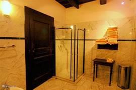 The bathroom has a spacious shower.