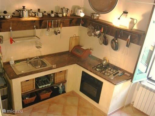 Een volledig ingerichte keuken.