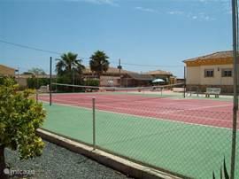 achter anzicht van de privé tennisbaan