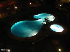 Het zwembad van boven gezien. 's Avonds is het verlicht en vanaf u terras een romantisch plaatje.