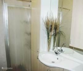 Fraai ingerichte badkamer met badmeubel en douche met thermostaatkraan.