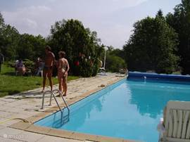 The pool is 90 square meters and has a diving board. Very nice for the kids.