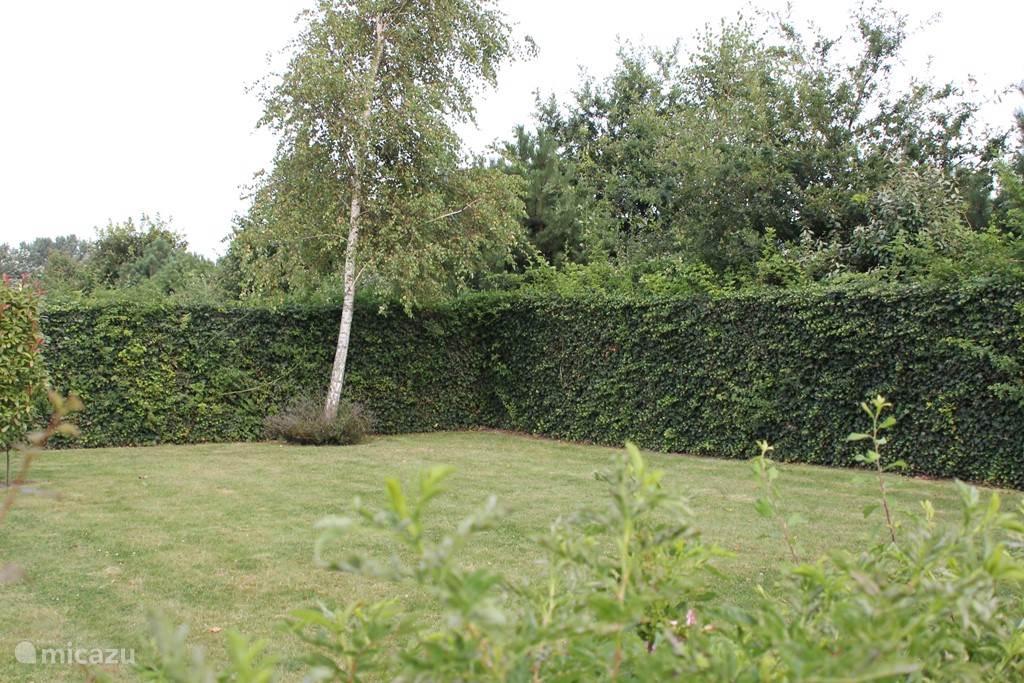 Tuin is hoog omheind aan achterzijde, daar waar met name de andere huizen hun terras hebben. Aan voorzijde laag hek (zie andere foto) waardoor men mooi uitzicht heeft en zelf ook wat te kijken heeft En alle huizen een vergelijkbare hek hebben ivm fraai straatbeeld.
