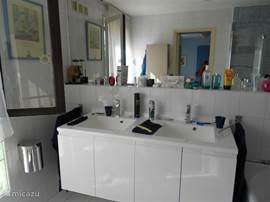 Badkamer beneden met dubbele wastafel