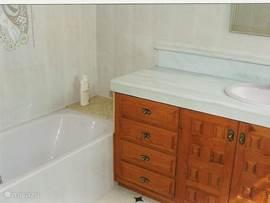badkamer behorende bij master bedroom; ligbad met douche, bidet, toilet en wastafel