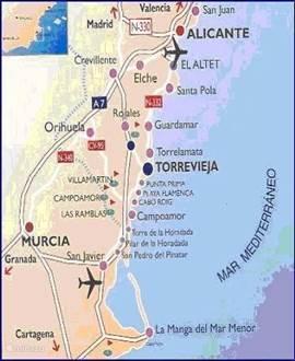 kaart Costa Blanca