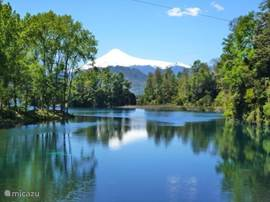 The Villarrica volcano in the lake