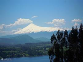 Views of the Villarrica volcano from the road to Chauquen