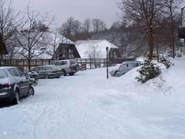 woningen in de sneeuw