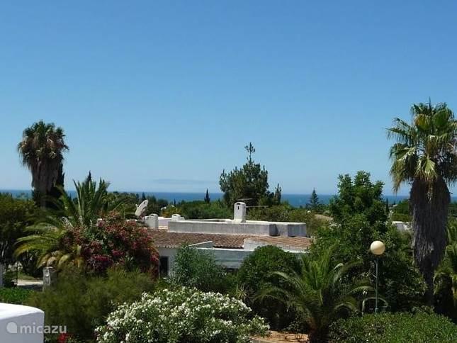 Vanaf het grote dakterras een prachtig uitzicht over het groen van het park naar de zee.
