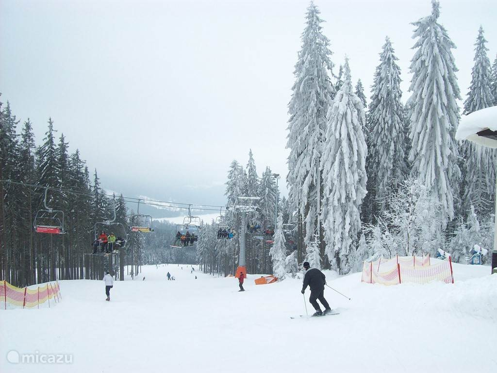 A portion of the ski area at Lipno. He has only area chairlifts.