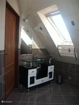 Badkamer (slaapkamer 5) (extra optie) heeft een moderne vol glas wastafel en kijkt uit op de binnen tuin.