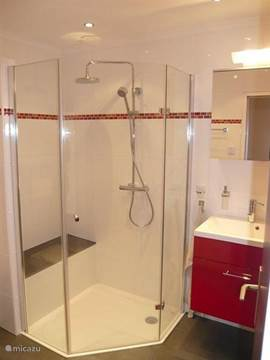 corner shower with seat, rain shower, hand shower and cabin. vanity cabinet with drawers, surmounted by a mirror cabinet