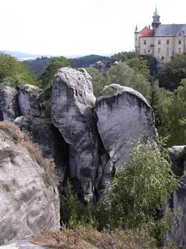 The castle on the rock formations in Turnov.
