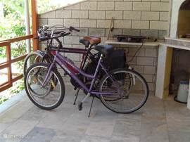 De Fietsen. 2 Mountainbikes en 1 nieuwe Opa fiets met 4 versnellingen en fietstassen. Hiervan kan gratis gebruik worden gemaakt. Afstand naar strand 7 minuten.