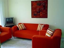Woonkamer: De zithoek en TV / sateliet ontvanger en DVD speler.