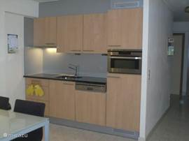 Küche mit Mikrowelle, Induktionsherd und Geschirrspüler