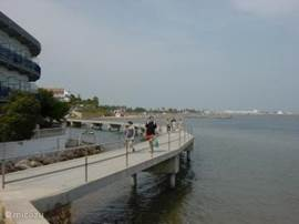 Wandelbrug in zee (verbindt playa Hortets met playa Capri).