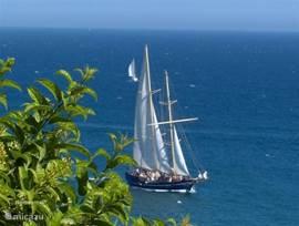 Genieten van dit mooie uitzicht en de diepblauwe zee en lucht.