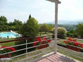 from the balcony overlooking Pyrenees, pool and garden (3ha)