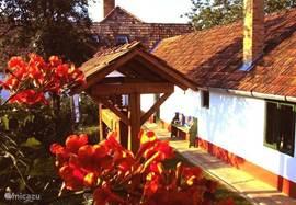 De voorhof ALMAhof.  ALMA hof is vooral specifiek zo aangelegd en gebouwd, dat het huis in de zeer warme zomertijd niet de plaats is waar men behoort te vertoeven.  Alma hof is verdeeld in vooral beboste of overdekte tuinen en terrassen, die geheel zijn ingericht voor genieten van zon en buitenluc