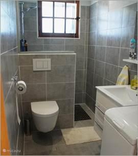 Badkamer met wasmachine (rechts voor).