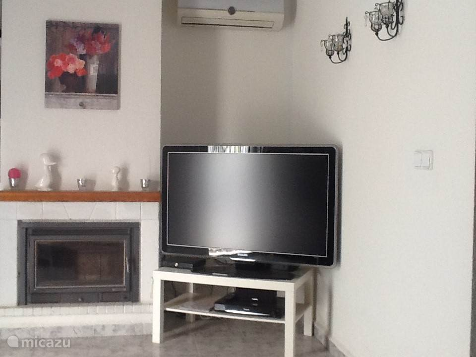 Flatscreen tv en openhaard