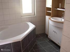 A new bathroom with separate shower and bath