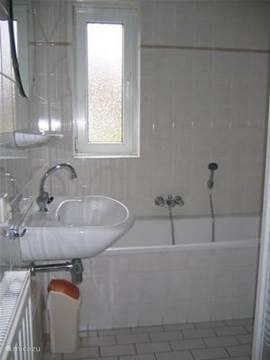 In de badkamer beneden een ligbad en wastafel
