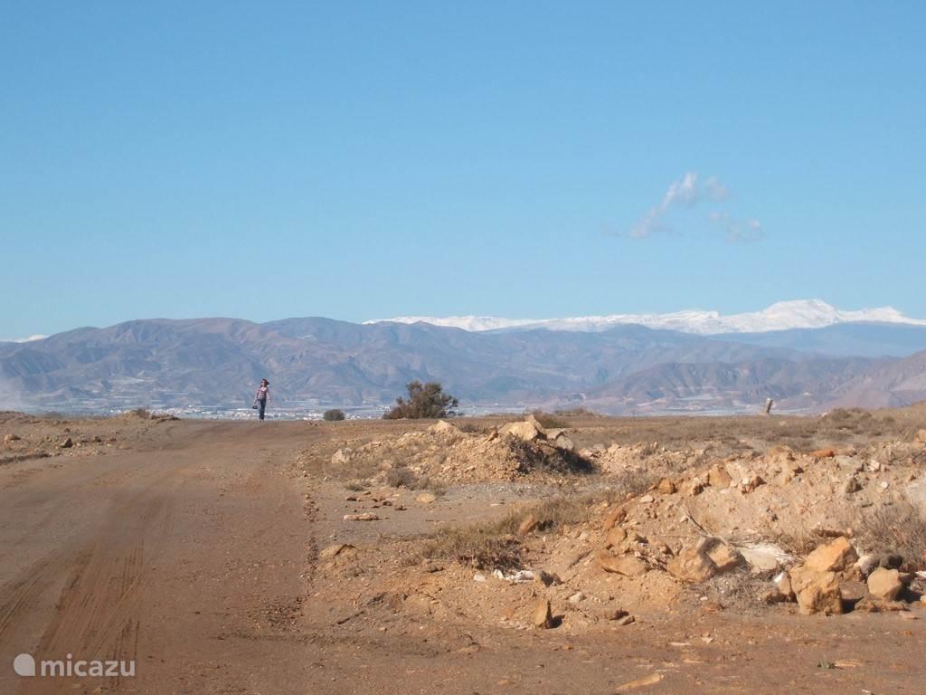 Zicht naar de Sierra Nevada met zijn besneeuwde toppen.