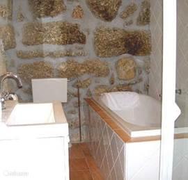 De badkamer met Bad en aparte Douche.